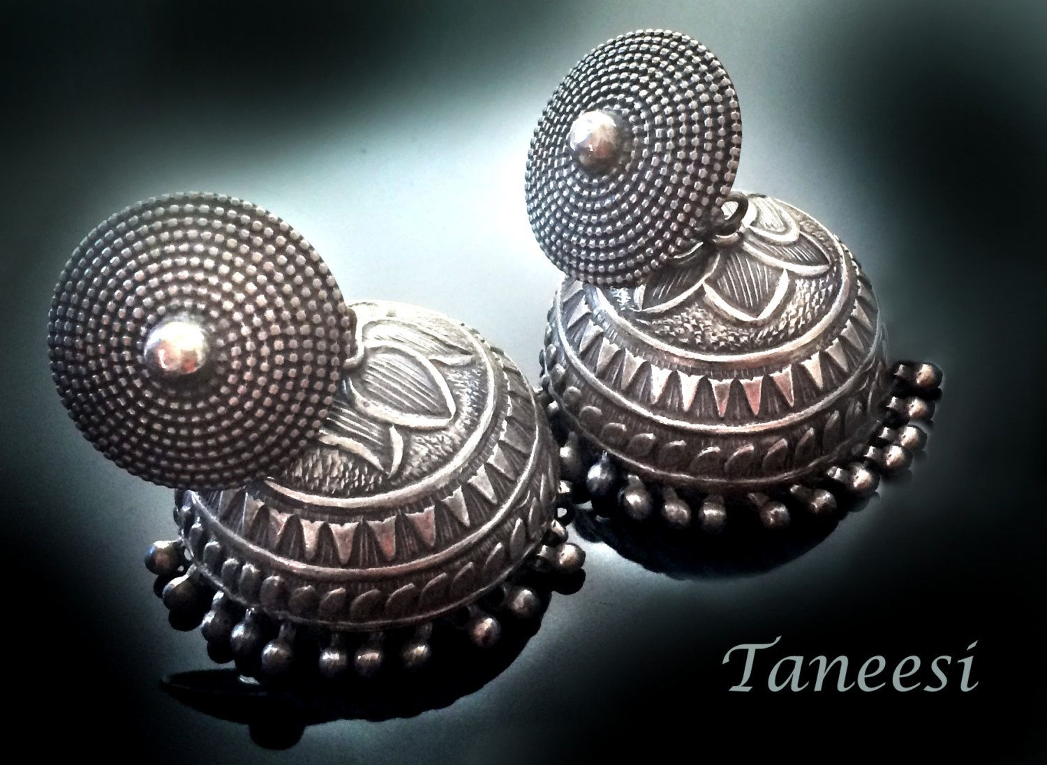 Jhumkas,large Silver Jhumka Earrings,antique 925 Sterling Silver Dome  Earrings Lotus Traditional Jewelry By Taneesi