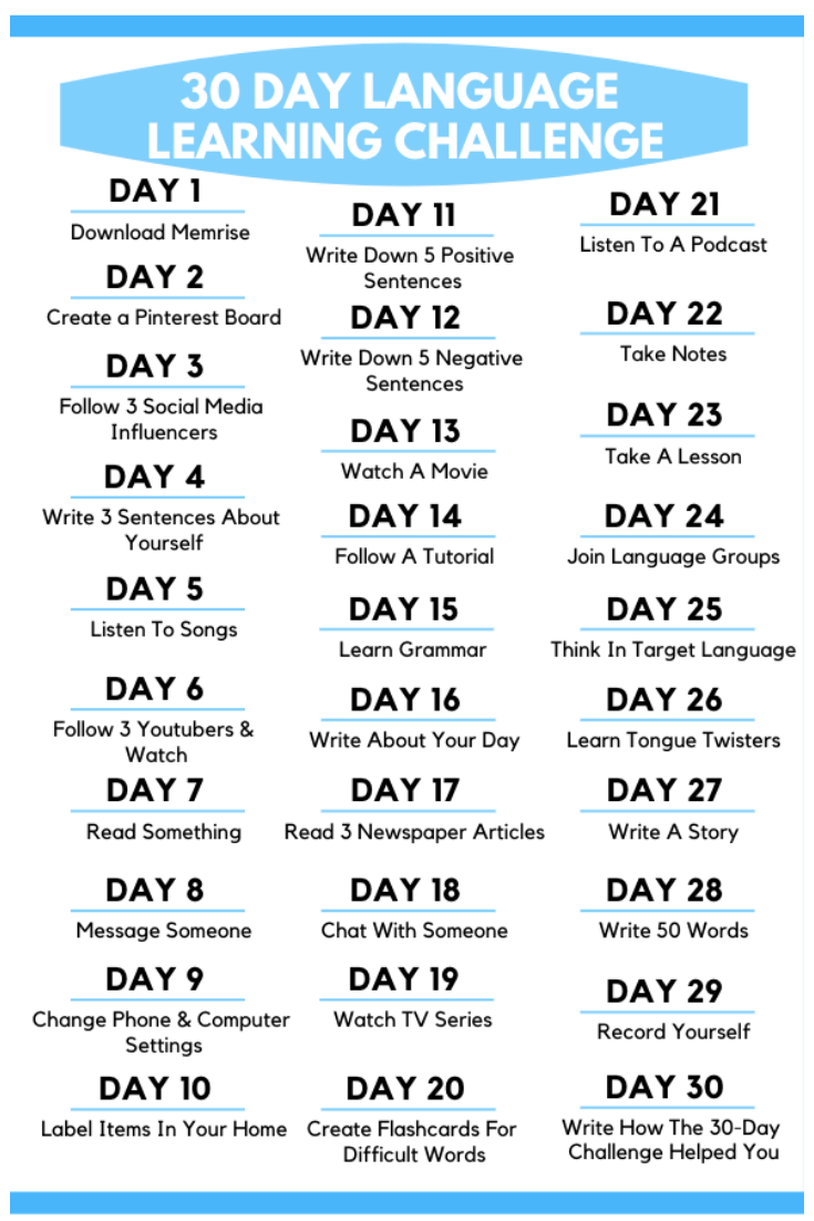 30 Day Language Learning Challenge Check out this awesome 30 Day Language Learning Challenge Each day learn new language learning tips This is one of the most effective w...