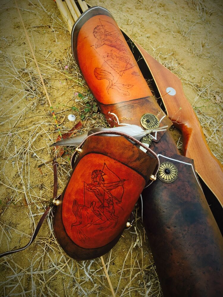 Archery Quiver 100/% HANDMADE PYROGRAPHY ART FULL GRAIN COW LEATHER FREE P/&P