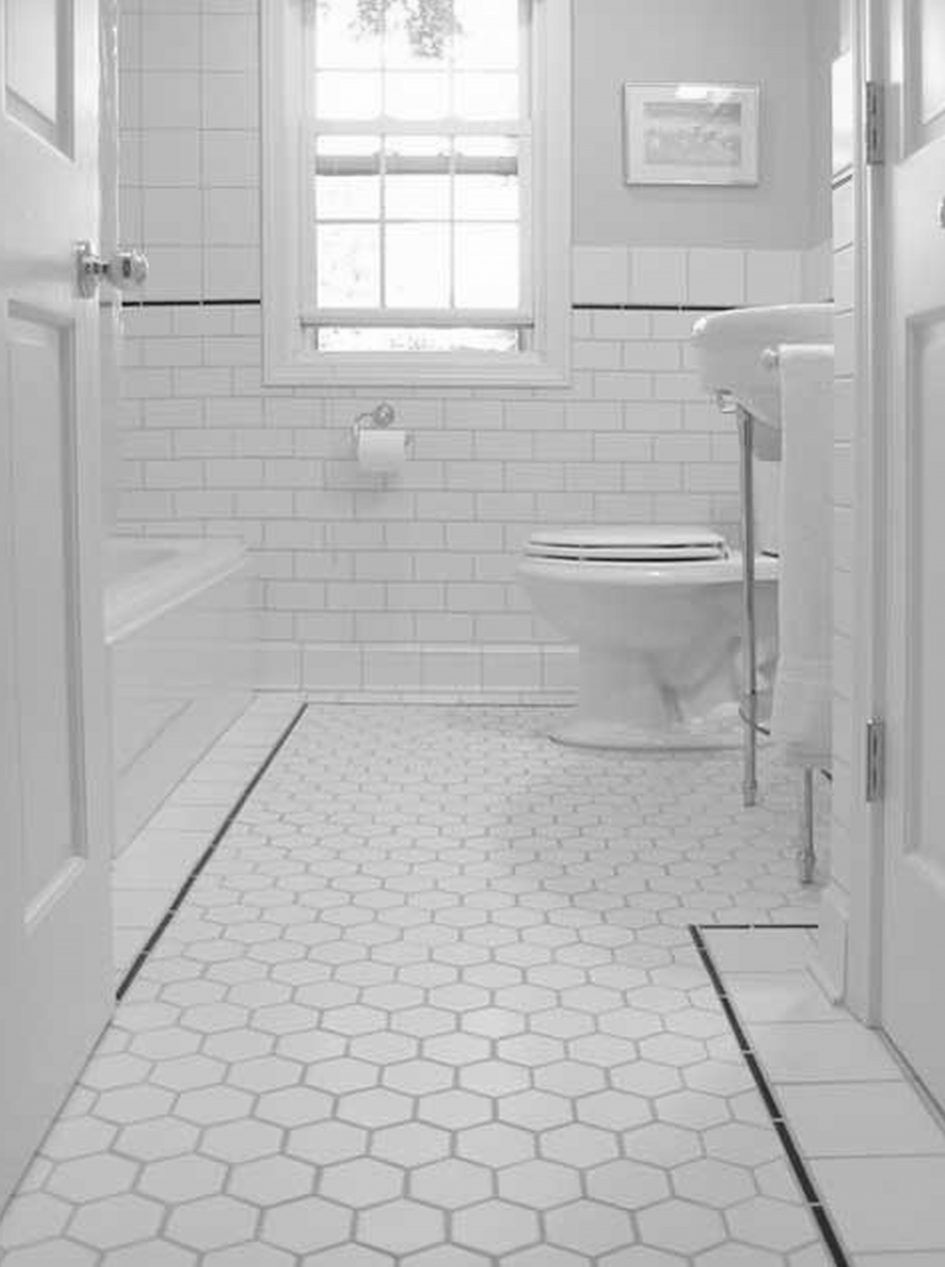 Bathroom, Black And White Bathroom Theme Small Tiles Kitchens With Floors Porcelain Tile … | White Bathroom Tiles, Vintage Bathroom Tile, Small Bathroom Renovations