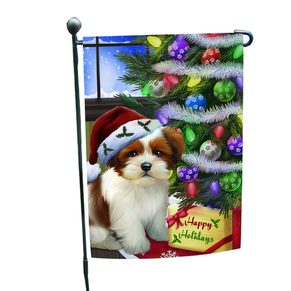 Let it Snow Christmas Cavalier King Charles Spaniel Dog Santa Hat Garden Flag
