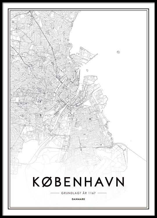 Poster with map of Copenhagen People Places Nouns in General