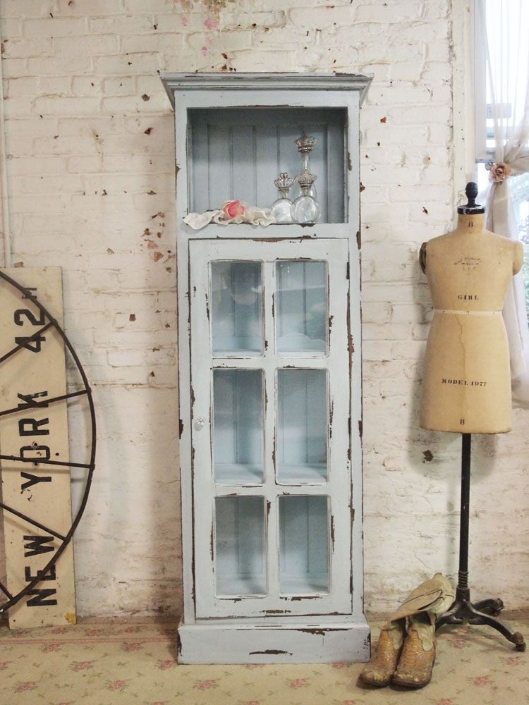 Painted Cottage Chic Shabby Chateau Farmhouse Linen Cabinet [CC46]    $425.00 : The Painted