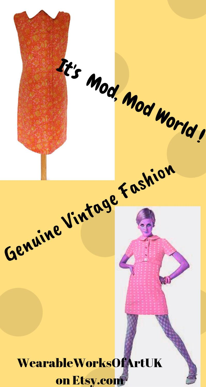 4fac5f36a64e7 True Vintage 60's Mod scooter dress in orange & pinks! Newly listed in  my