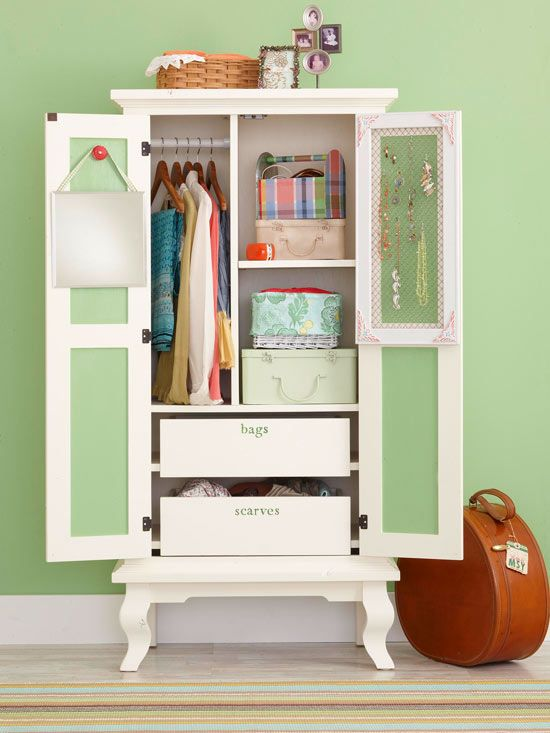 Storage solutions for small bedrooms wardrobes vintage armoire and blank walls for Bedroom armoire with tv storage