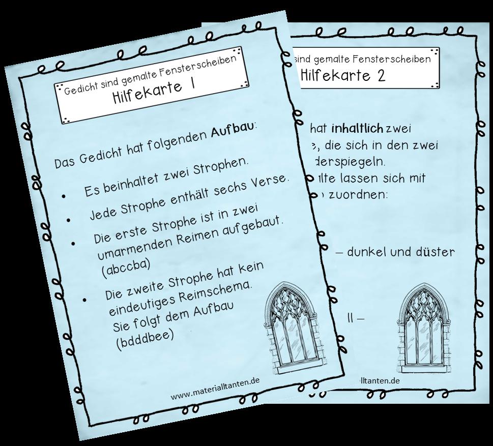 Hilfekarten Zur Unterrichtsstunde Was Sind Können Gedichte