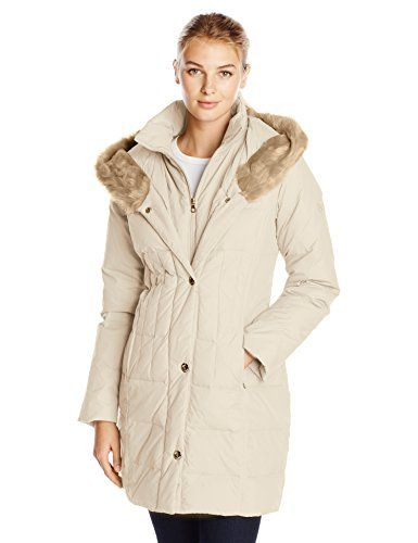 Larry Levine Women's Down-Filled Coat with Faux Fur-Trimmed Hood ...