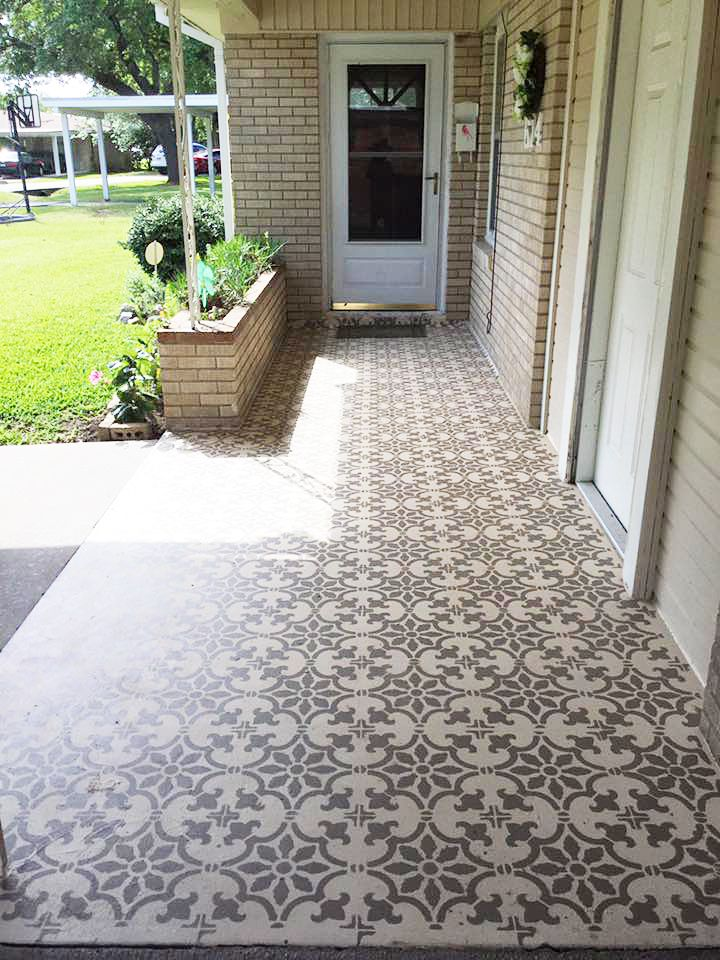 Cement Patio, Patio Tiles, Patio Flooring, Flooring Ideas, Concrete, Budget  Patio, Diy Patio, Stenciled Floor, Front Courtyard