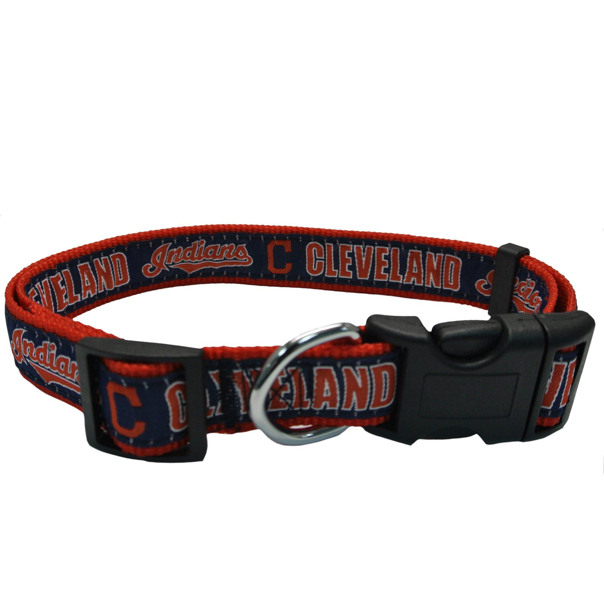 Pets First Cleveland Indians Dog Collar, Large, Blue / Red