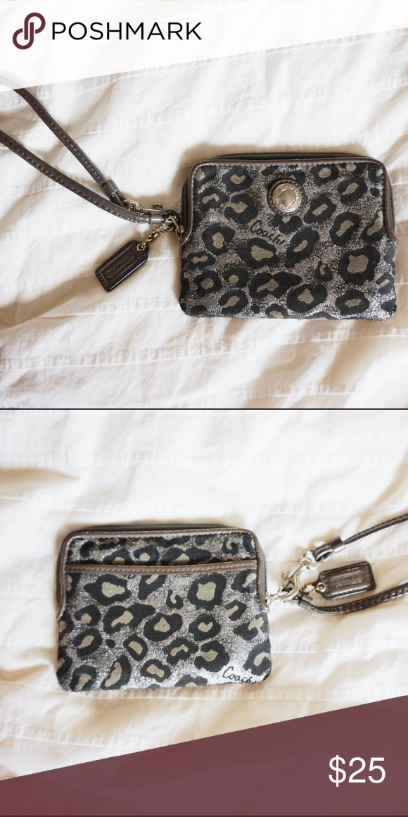 de751c324f Coach Metallic Cheetah print Wristlet Authentic Coach wristlet with side  pocket and card holders inside. Coach Bags Wallets