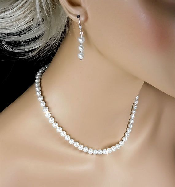 Pearl Bridal Set White Pearl Necklace by PixieDustFineries on Etsy