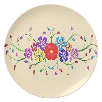 sc 1 st  Pinterest & Colorful flower bouquet melamine plate | Colorful flowers
