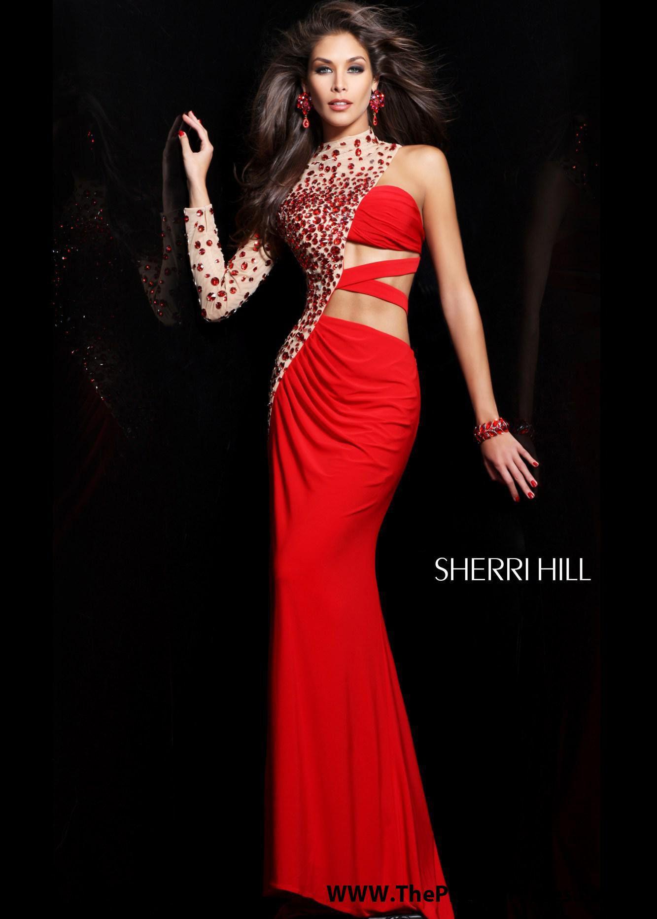 Sherri Hill 21002 - Red Long Sleeve Beaded Prom Dresses Online ...
