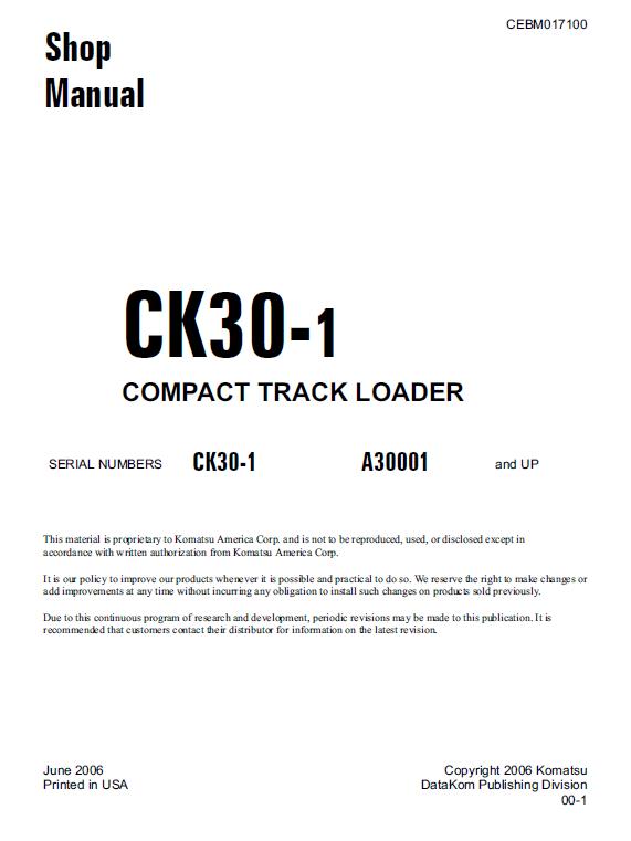 Komatsu CK30-1 Skid-Steer Loader Service Manual | Skid steer loader, Komatsu,  ManualPinterest