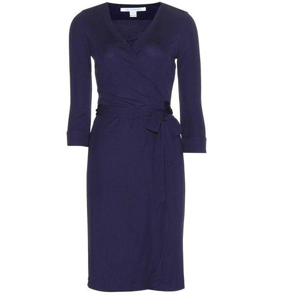 Diane von Furstenberg New Julian Wrap Dress (30.100 RUB) via Polyvore featuring dresses, blue, diane von furstenberg dresses, diane von furstenberg, blue wrap dress, blue dress и navy dress