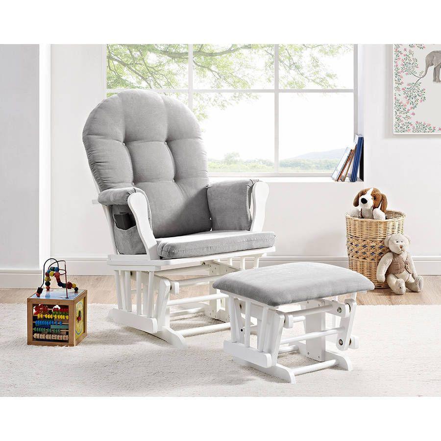 Windsor Glider Angel Lane And Ottoman White W Gray Cushion
