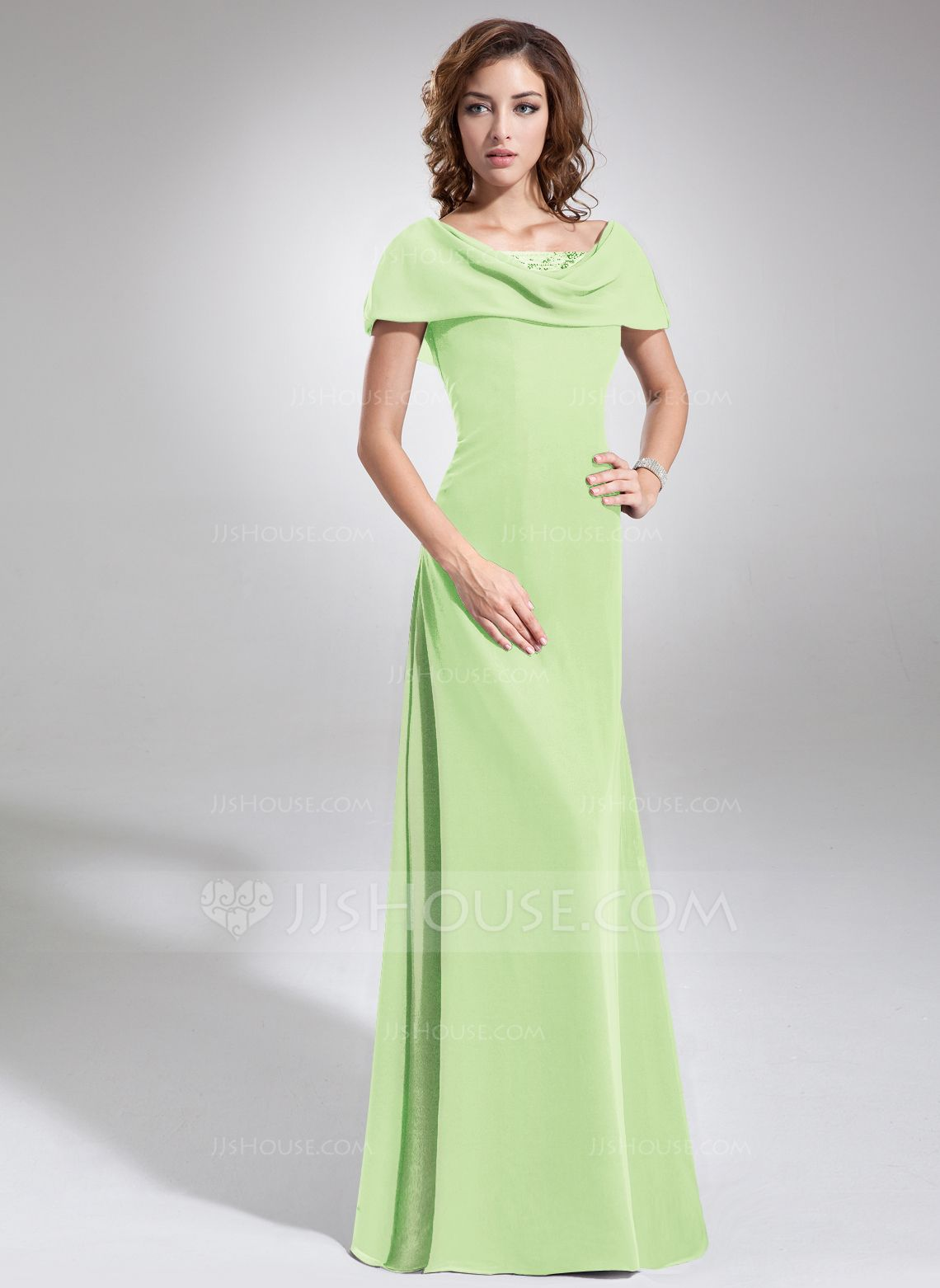 A-Line/Princess Cowl Neck Floor-Length Ruffle Beading Sequins Zipper ...