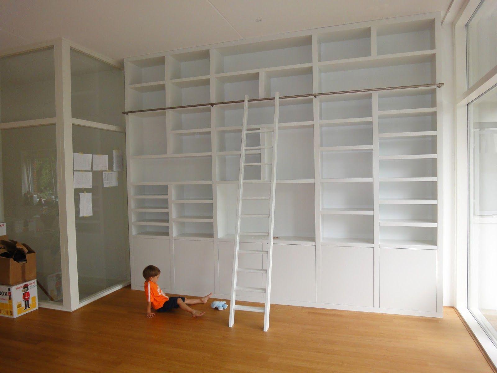 Mooie plafond hoge wandkast op maat gemaakt bookshelves in