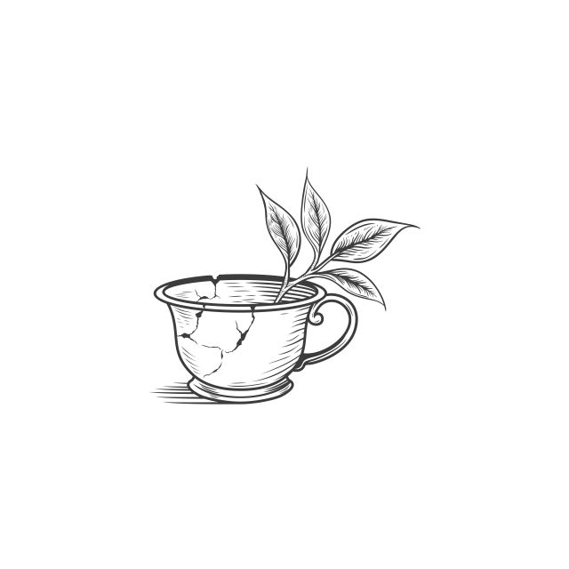 Broken Tea Cup Drawing Vector Logo Illustration Logo Icons Drawing Icons Cup Icons Png And Vector With Transparent Background For Free Download Tea Cup Drawing Teacup Tattoo Cup Tattoo
