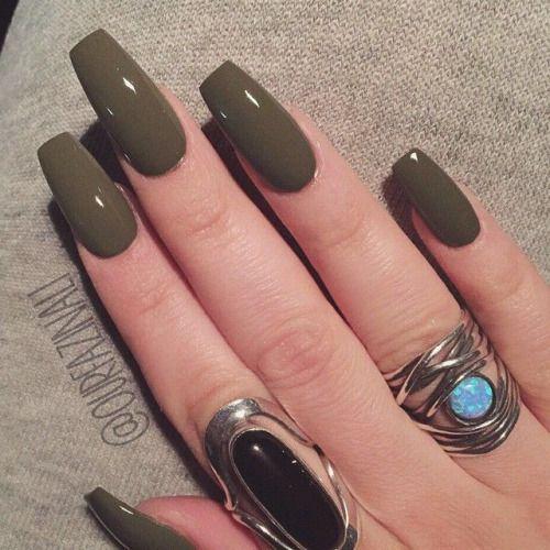 How To Make Olive Green Nail Polish: Long Coffin Nails. Elegant ♚ #nail #color #Khaki