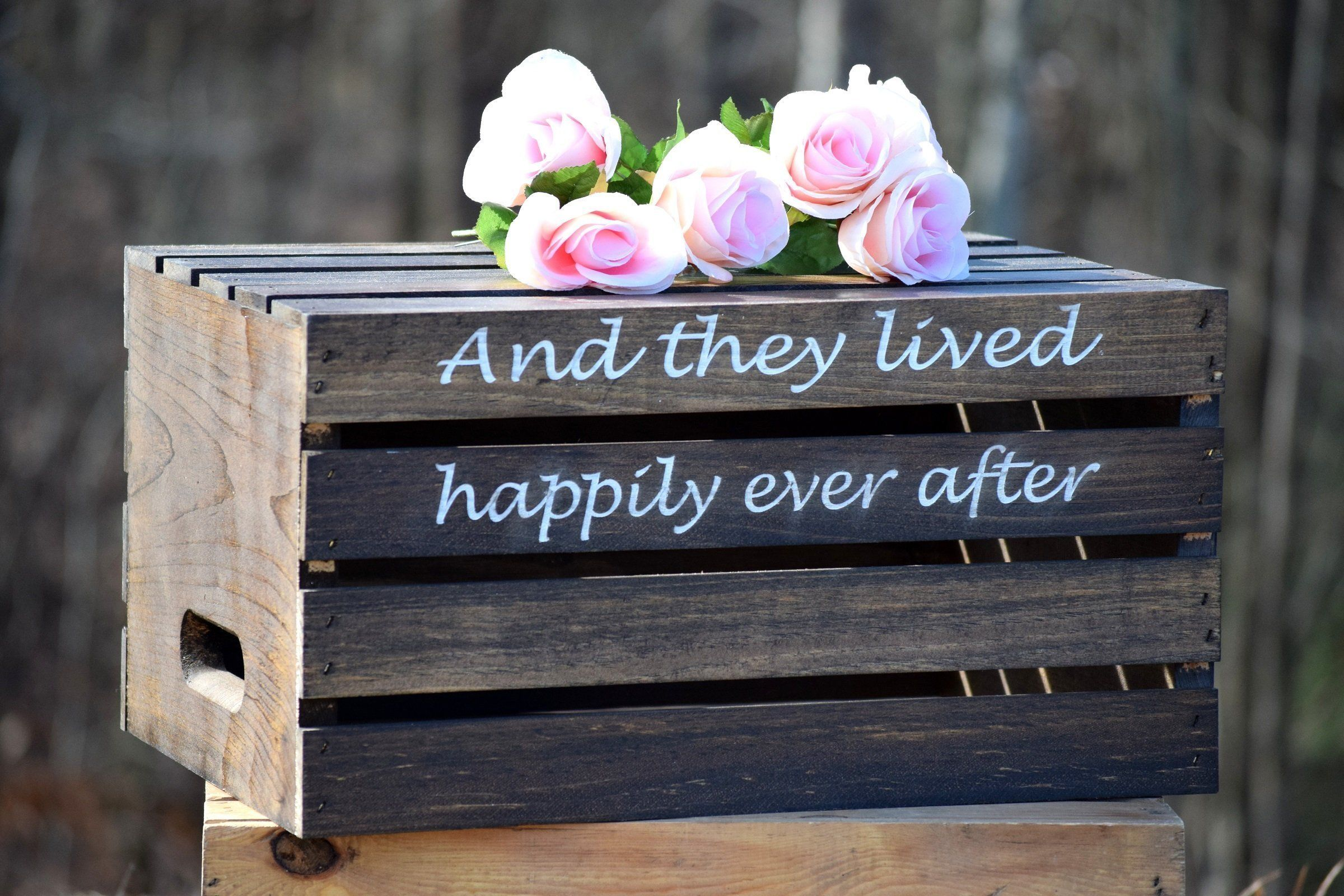 Rustic wedding cake stand rustic crate personalized wooden cake