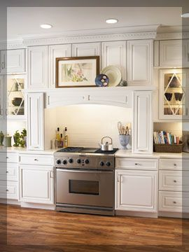 Lowes Kitchen Hood New Countertops Kraftmaid Mantle Cabinets With Lighting Moreno Valley
