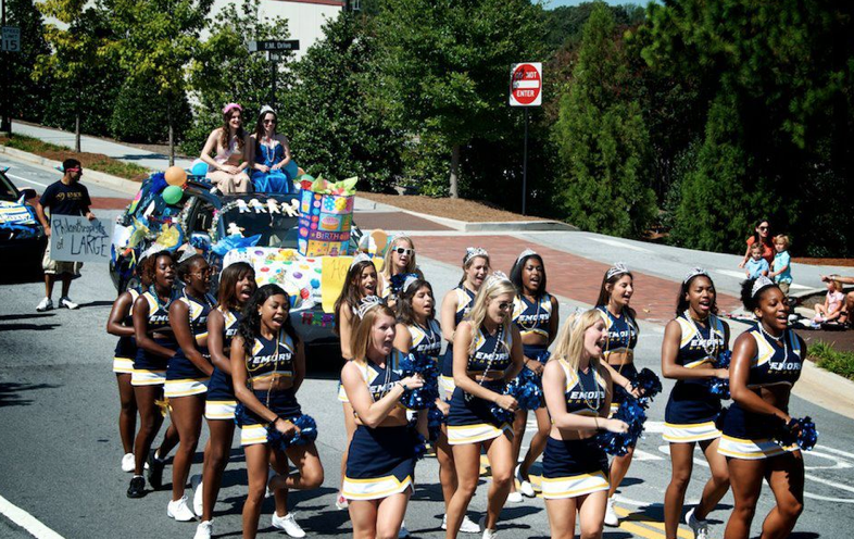 Emory's cheerleading squad walks in the 2011 Homecoming Parade