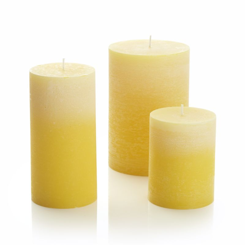 Ombre Yellow Pillar Candles Crate And Barrel
