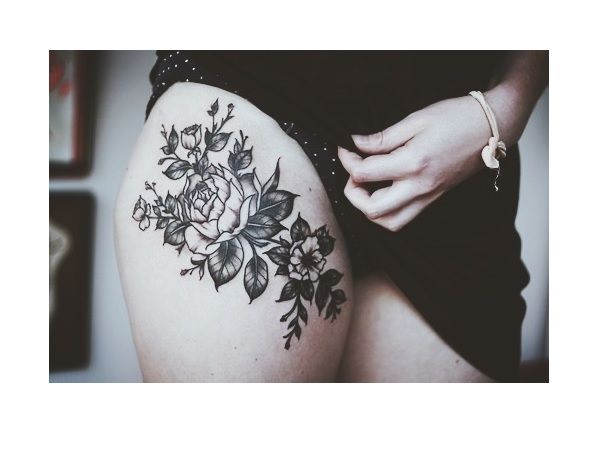 1b30f2760 Roses and Leaves Black Ink Thigh Tattoo | tattoos | Flower thigh ...