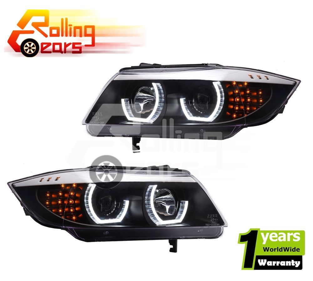 Bmw e90 e91 05 08 3 series black angel eye halo projector head lights lamps pair xenon headlights bmw and cars