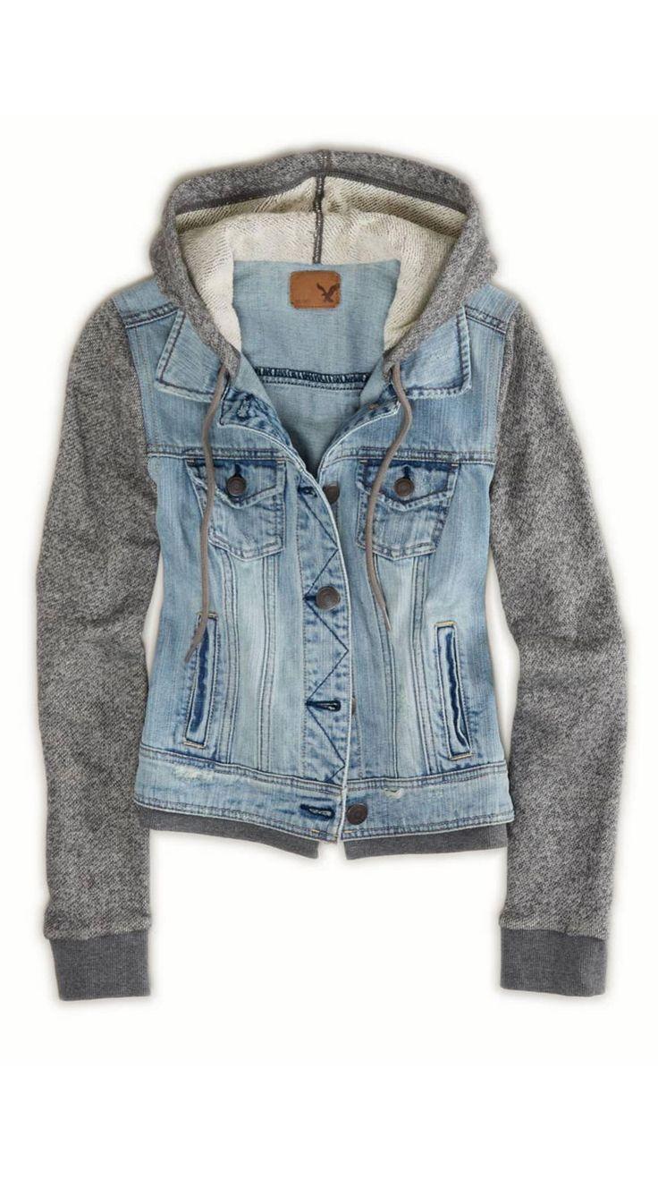 campera de jeans con mangas de jogging | Ropa, Paño
