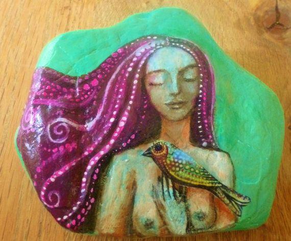 Petra Painted Stone by AliceMasonArtist on Etsy, $42.00