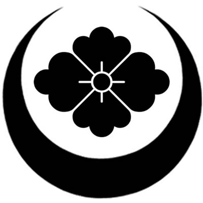 家紋 真向き月に花菱 Mamukituki Ni Hanabishi Heraldry Japanese