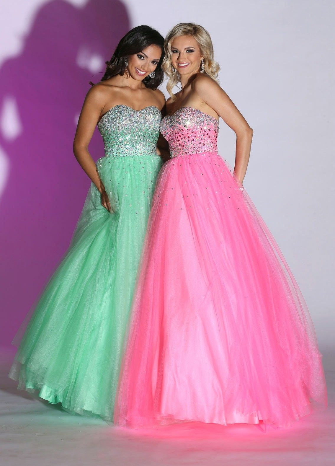 Mint and pink sweetheart neckline strapless long princess prom ...
