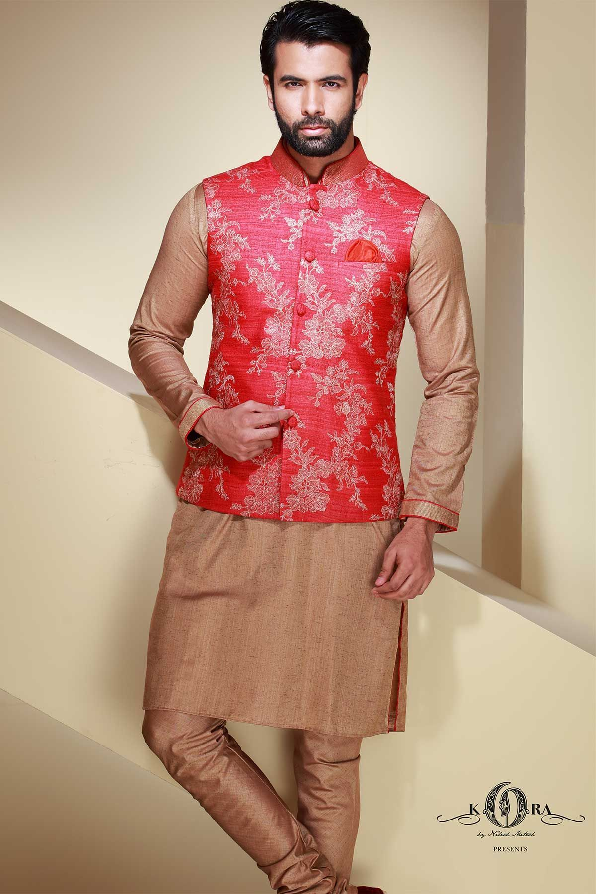 989b8f220a Red Raw Silk Resham Embroidered Waistcoat Kurta-KR409 Kurta Pajama Men, Kurta  Men,