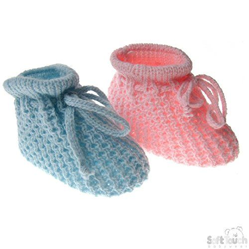 Baby Newborn Knitted Pom Pom Booties Boy Girl  Bootee White Blue Pink Soft Touch Shoes