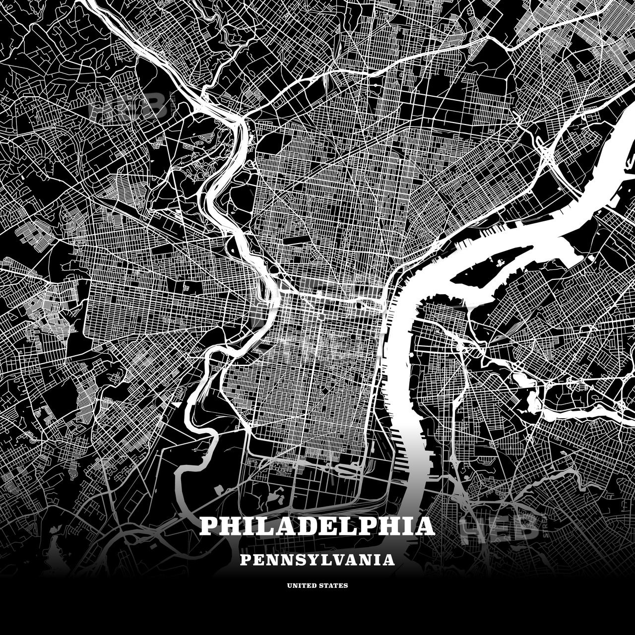 Black map poster template of Philadelphia, Pennsylvania, USA ...
