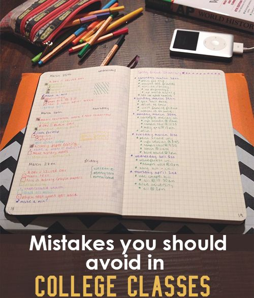 Mistakes To Avoid In College Classes College, School and Dorm - checklists boosting efficiency reducing mistakes