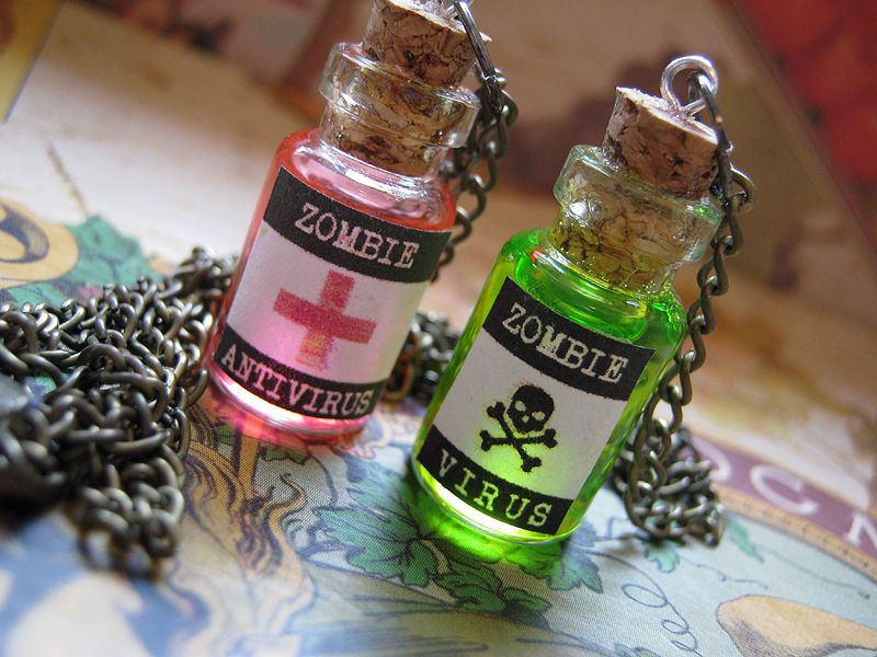 Zombie Wedding Gifts: Zombie Virus And Anti-virus Pendants
