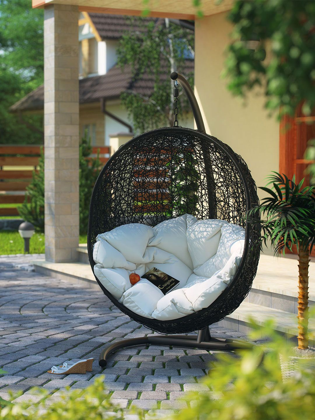 Modway Outdoor Cocoon Patio Swing Chair Patio Swing