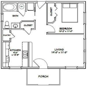 30x24 House 1 Bedroom 1 Bath 720 Sq Ft Pdf Floor Plan Model 3a Tiny House Floor Plans Tiny House Plans Vacation House Plans