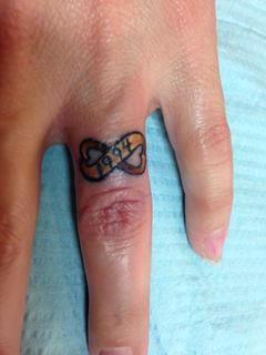 My New Gold Wedding Band Tattoo 1994 Is The Date I Got Married It