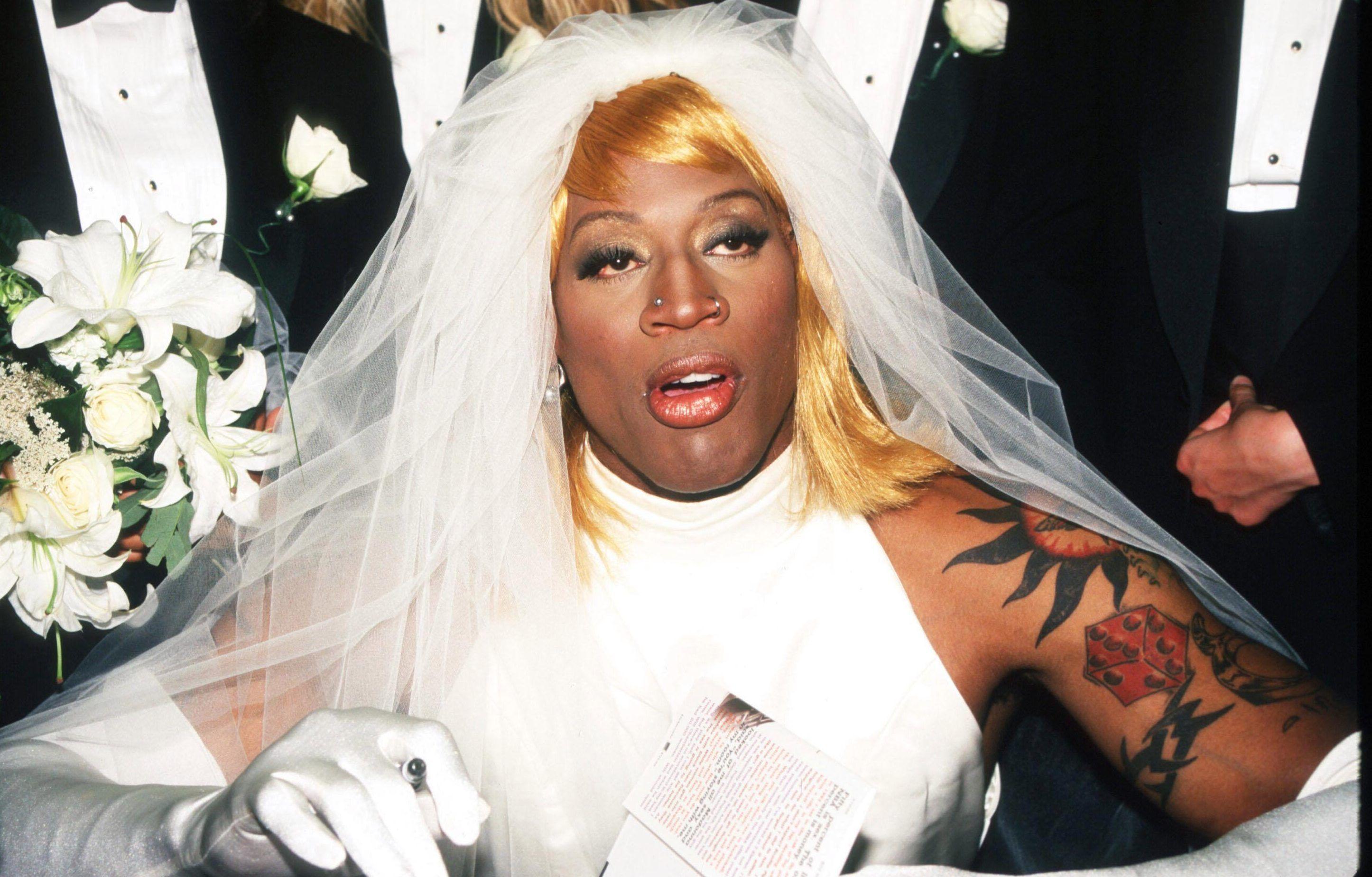 Dennis Rodman Wedding Gown Princess Inside The Crazy World Of Dennis Rodman The Bad Boy O In 2020 Dennis Rodman Wedding Gowns Gowns