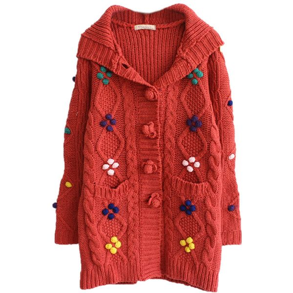 Pink Cool Womens Bean Hooded Cardigan Sweater Coat ($48) ❤ liked ...