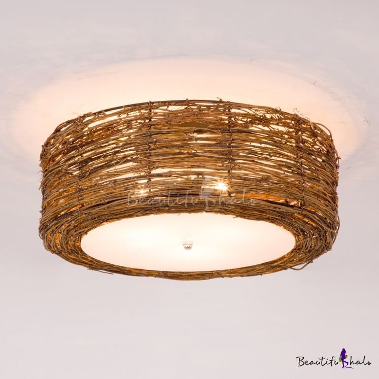 Rustic Style Brown Ceiling Light Fixture With Drum Shape Single Light Bamboo Flush Mount Light For Indoor Ceiling Lights Light Fixtures Flush Mount Light Fixtures Bedroom Ceiling