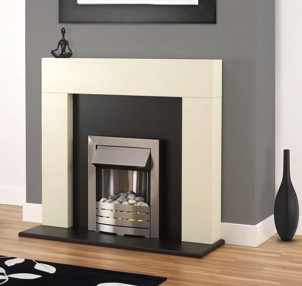 electric fire white wood fireplace modern black surround silver