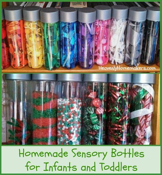 Make Sensory Bottles for Infants and Toddlers ~ Homemade Gifts for Less Than $5 #sensorybottles