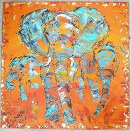 toile peinture tableau elephant afrique 60x60cm peintre v linard peinture pinterest. Black Bedroom Furniture Sets. Home Design Ideas