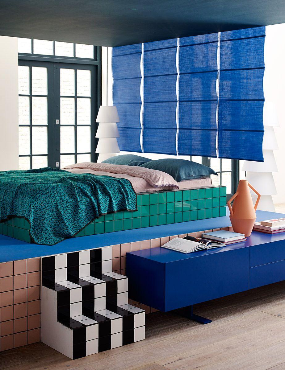 Memphis Design, Blau Schlafzimmer, Schlafzimmer Deko Ideen, Zimmer Ideen, Schlafzimmer  Designs, Hochbeete, 3/4 Betten, Plattform Bettrahmen, Die 4.