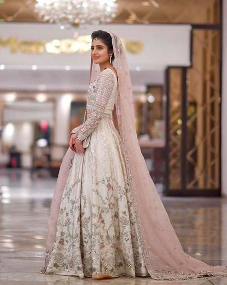 Dusty Pink Veil Dupatta Pakistani Bridal Dresses Desi Wedding Dresses Nikkah Dress